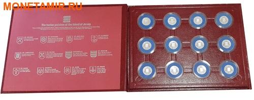 Джерси 12х1 фунт 1983-1989 Гербы (Набор 12 монет).Арт.000316312205/60 (фото, вид 2)