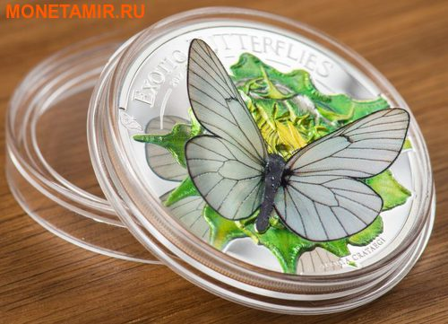 Монголия 500 тугриков 2017 Бабочка Боярышница серия Экзотические Бабочки 3D (Mongolia 500T 2017 Exotic Butterflies Aporia Crataegi 3D Silver Coin).Арт.000396354016/60 (фото, вид 1)