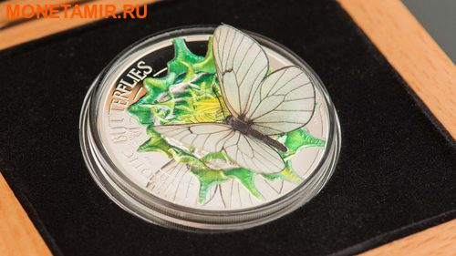 Монголия 500 тугриков 2017 Бабочка Боярышница серия Экзотические Бабочки 3D (Mongolia 500T 2017 Exotic Butterflies Aporia Crataegi 3D Silver Coin).Арт.000396354016/60 (фото, вид 3)