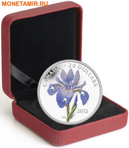Канада 20 долларов 2013 Цветок Ирис Голубой Флаг Капля Дождя (Canada 20C$ 2013 Flower Blue Flag Iris Raindrop Swarovski Silver Proof).Арт.000338442914/67 (фото, вид 2)