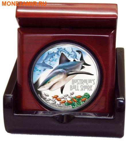 Тувалу 1 доллар 2017 Бычья Акула серия Смертельно Опасные (Tuvalu 1$ 2017 Deadly and Dangerous Bull Shark 1oz Silver Coin).Арт.000363354003/92 (фото, вид 2)
