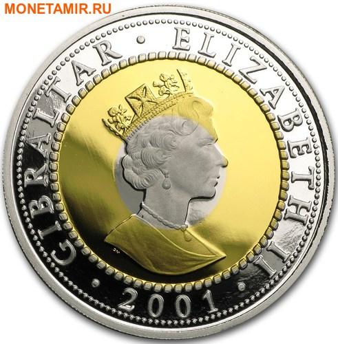 Гибралтар 1 крона 2001 Двадцать первый век Три металла.Арт.65 (фото, вид 1)