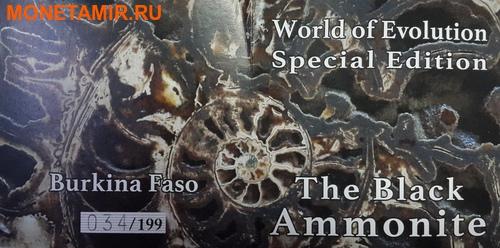 Буркина Фасо 1000 франков 2016 Аммонит черный – Мир эволюции (Burkina Faso 1000 francs 2016 Ammonite black World of Evolution with real fossil).Арт.60 (фото, вид 3)