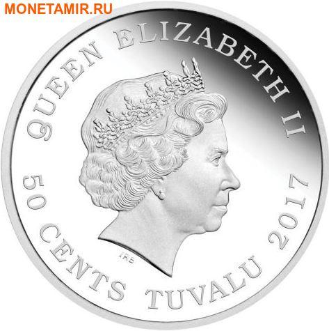 Тувалу 50 центов 2017 Детеныш Полярной лисы.Арт.60 (фото, вид 1)