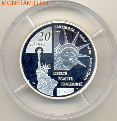 Франция 20 евро 2004. Бартольди (фото, вид 1)