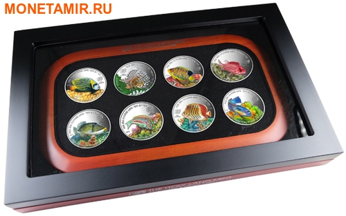 Палау 8х5 долларов 2016 Морская жизнь Красного моря Red Sea Marine Life (набор 8 монет).Арт.60 (фото, вид 18)