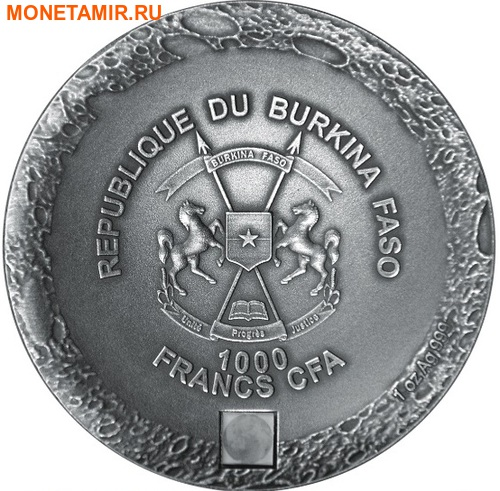 Буркина Фасо 1000 франков 2016 Лунный метеорит NWA 10546 Наночип.Арт.60 (фото, вид 2)