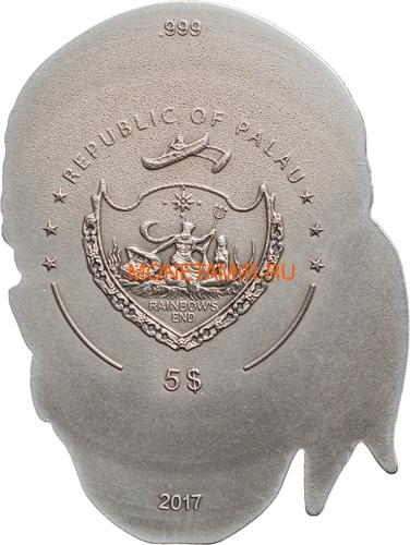 Палау 5 долларов 2017 Череп Пирата (Palau 5$ 2017 Pirate Skull).Арт.60 (фото, вид 1)