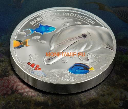 Палау 2х10 долларов 2017 Дельфин и Морской Конек серия Защита морской жизни (Palau 2x10$ 2017 Dolphin + Sea Horse 2-coin Set Piedfort).Арт.60 (фото, вид 1)