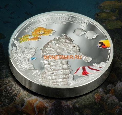Палау 10 долларов 2017 Дельфин Морской Конек Защита Морской Жизни Набор Две Монеты (Palau 10$ 2017 Dolphin Sea Horse Marine Life Protection Silver Coin Set Piedfort).Арт.60 (фото, вид 2)