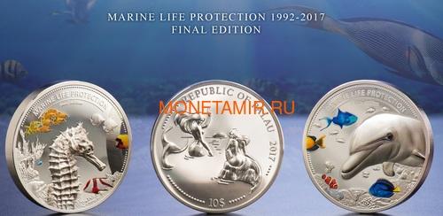 Палау 2х10 долларов 2017 Дельфин и Морской Конек серия Защита морской жизни (Palau 2x10$ 2017 Dolphin + Sea Horse 2-coin Set Piedfort).Арт.60 (фото, вид 6)