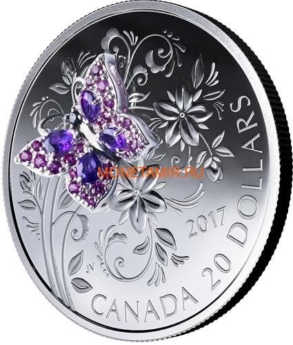 Канада 20 долларов 2017 Бабочка серия Насекомые из Драгоценных Камней (Canada 20$ 2017 BUTTERFLY Bejeweled Bugs Silver Coin).Арт.60 (фото, вид 1)