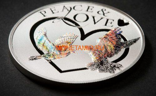 Токелау 5 долларов 2012 Мир и Любовь – Голуби (Peace and Love) Голограмма.Арт.60 (фото, вид 1)