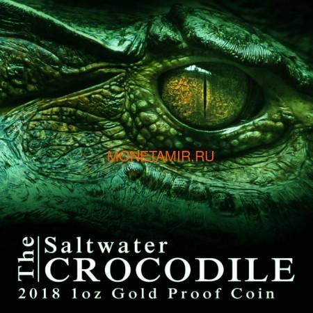 Ниуэ 100 долларов 2018 Морской Крокодил Замечательные Рептилии (Niue 100$ 2018 Remarkable Reptile Saltwater Crocodile 1 oz Gold Coin).Арт.60 (фото, вид 6)