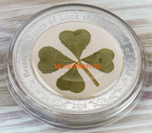 Палау 5 долларов 2018 Клевер – Унция удачи (Palau 5$ 2018 Ounce of Luck 4-leaf clover).Арт.60 (фото, вид 1)