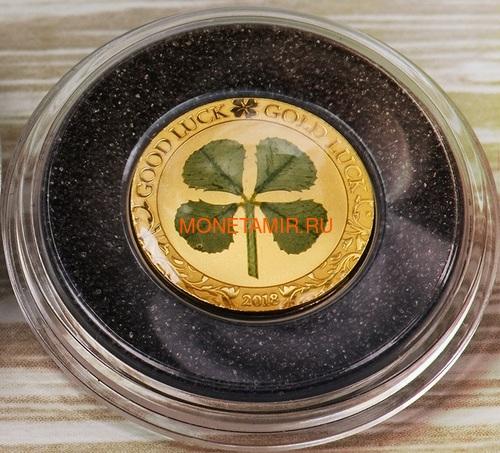 Палау 1 доллар 2018 Клевер На удачу (Palau 1$ 2018 Good Luck 4-leaf clover).Арт.60 (фото, вид 1)