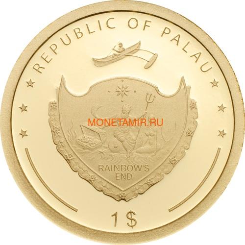 Палау 1 доллар 2018 Клевер На удачу (Palau 1$ 2018 Good Luck 4-leaf clover).Арт.60 (фото, вид 2)