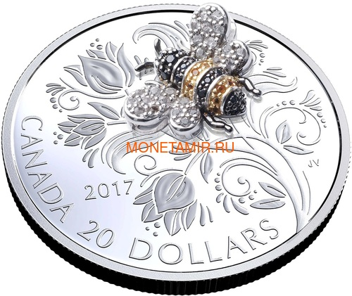 Канада 20 долларов 2017 Пчела серия Насекомые из Драгоценных Камней (Canada 20$ 2017 Bee Bejeweled Bugs Silver Coin).Арт.60 (фото, вид 1)
