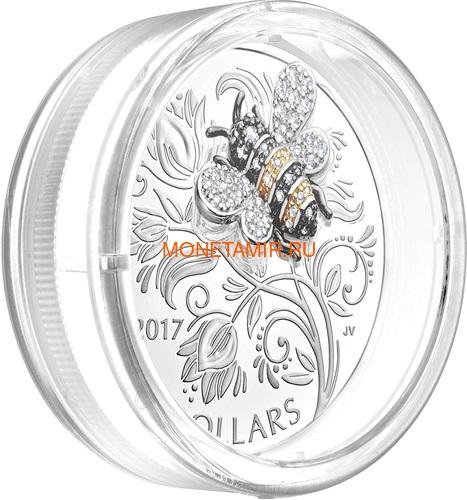 Канада 20 долларов 2017 Пчела серия Насекомые из Драгоценных Камней (Canada 20$ 2017 Bee Bejeweled Bugs Silver Coin).Арт.60 (фото, вид 2)