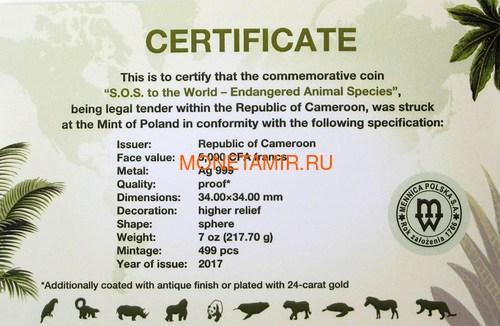 Камерун 5000 франков 2017 SOS под угрозой исчезновения Попугай Черепаха Тигр Носорог Медведь Обезьяна Кит (Шар) Cameroon 2017 5000 Francs SOS Endangered Animal Species Spherical 7oz).Арт.60 (фото, вид 6)