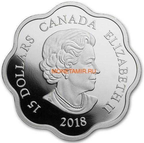 Канада 15 долларов 2018 Год Собаки – Лунный календарь серия Лотос (Canada 15$ 2018 Year of the Dog Lunar Lotus).Арт.60 (фото, вид 1)