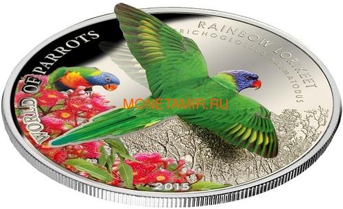 Острова Кука 5 долларов 2015 Многоцветный Лорикет – Мир попугаев 3D (Cook Isl. 5$ 2015 Rainbow Larikeet 3D The World of Parrots).Арт.000337648427/60 (фото, вид 1)