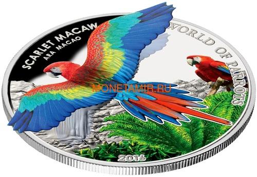 Острова Кука 5 долларов 2016 Красный Ара – Мир попугаев 3D (Cook Isl. 5$ 2016 Scarlet Macaw 3D The World of Parrots).Арт.000442852870 /60 (фото, вид 1)