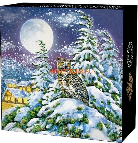 Канада 30 долларов 2017 Ушастая Сова в Лунном свете (Canada 30$ 2017 Glow-In-The-Dark Coin - Animals in the Moonlight Great Horned Owl).Арт.60 (фото, вид 4)