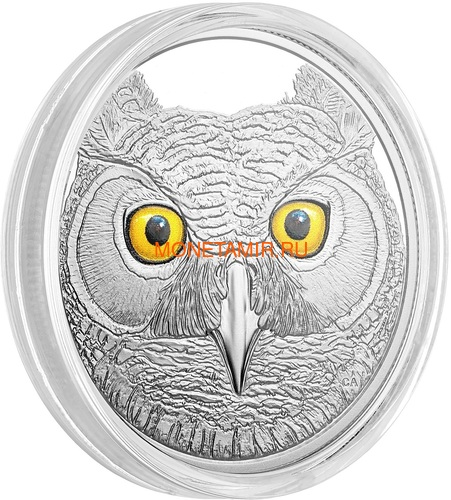 Канада 15 долларов 2017 Ушастая Сова (Canada 15$ 2017 Glow-In-The-Dark Coin Great Horned Owl).Арт.60 (фото, вид 2)