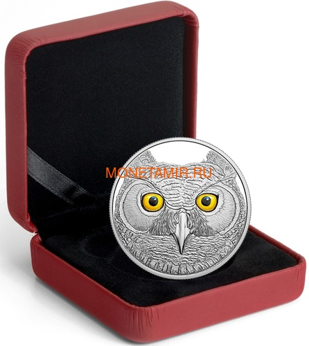Канада 15 долларов 2017 Ушастая Сова (Canada 15$ 2017 Glow-In-The-Dark Coin Great Horned Owl).Арт.60 (фото, вид 4)