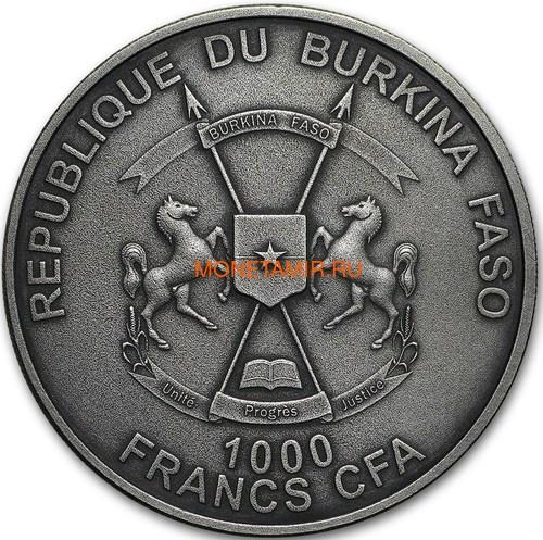 Буркина Фасо 1000 франков 2017 Глиптодон - Эффект реальных глаз (Burkina Faso 1000 Francs CFA 2017 The Glyptodon High Relief).Арт.60 (фото, вид 1)