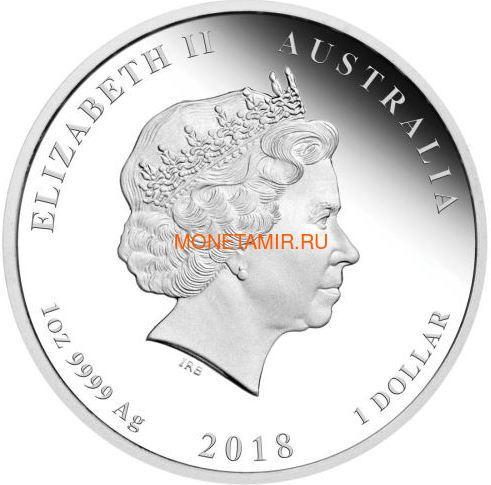 Австралия 1 доллар 2018 Год Собаки – Лунный календарь (Australia 1$ 2018 Year of the Dog Lunar calendar Proof Emal).Арт.60 (фото, вид 1)