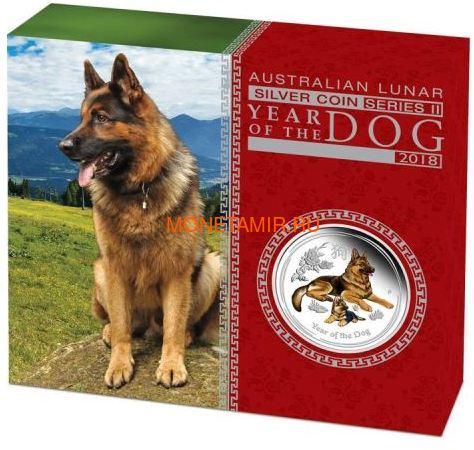 Австралия 1 доллар 2018 Год Собаки – Лунный календарь (Australia 1$ 2018 Year of the Dog Lunar calendar Proof Emal).Арт.60 (фото, вид 3)