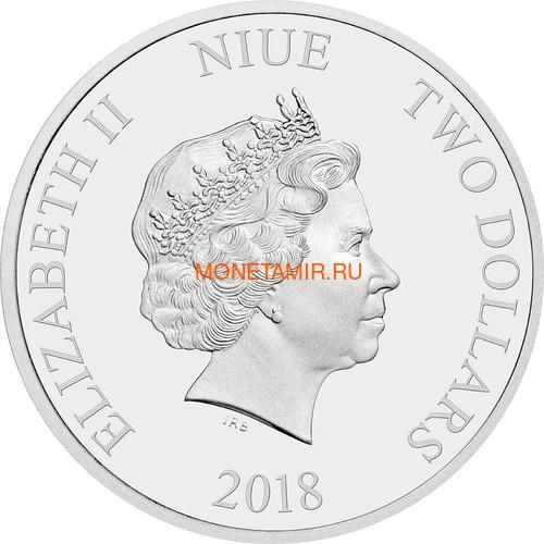 Ниуэ 2 доллара 2018 Год Собаки – Лунный календарь (Niue 2$ 2018 Year of the Dog Lunar calendar).Арт.60 (фото, вид 1)