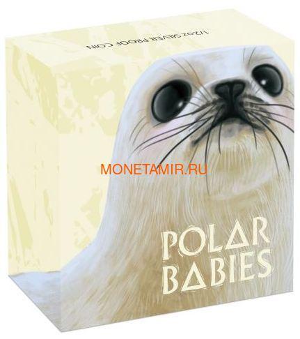 Тувалу 50 центов 2017 Детеныш Полярного Гренландского Тюленя (Tuvalu 0,5$ 2017 Harp Seal Baby Polar Babies).Арт.60 (фото, вид 3)