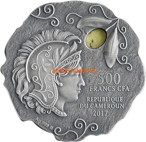 Камерун 500 франков 2017 Афинская Сова Яшма (Cameroon 500 francs 2017 Owl of Athena Silver Coin with Jasper Insert).Арт.60 (фото, вид 1)