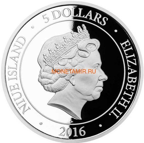 Ниуэ 5 долларов 2016 Бабочка на удачу – Кристаллы на монетах (Niue 5$ 2016 Good Luck Butterfly Czech Crystal Coins).Арт.001257451821/60 (фото, вид 3)