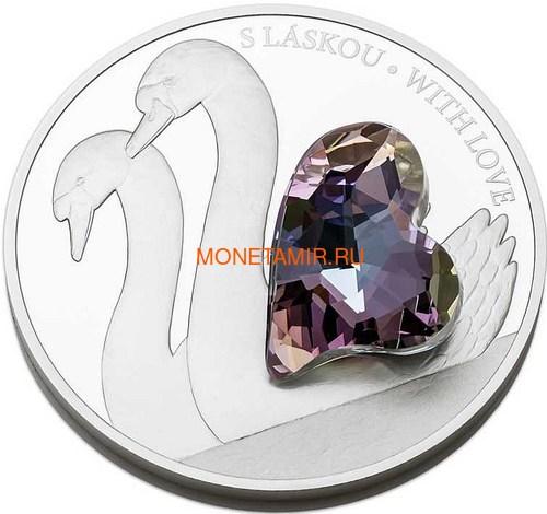 Ниуэ 5 долларов 2016.Лебеди с любовью – Кристаллы на монетах (Niue 5$ 2016 With Love Swan Czech Crystal Coins).Арт.001257451816/60 (фото, вид 1)
