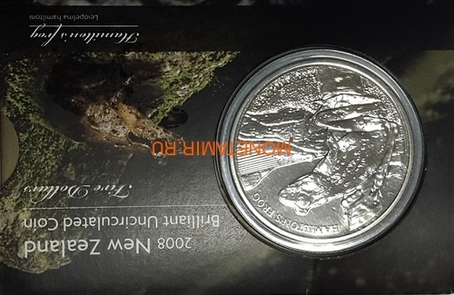 Новая Зеландия 5 долларов 2008 Лягушка Гамельтона (New Zealand 5$ 2008 Hamilton's Frog).Арт.60 (фото, вид 3)