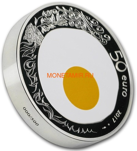 Франция 50 евро 2017 Ги Савой Яичница серия Коллекция Французского Совершенства (France 50E 2017 French Excellence Guy Savoy 5oz Silver Coin).Арт.92 (фото, вид 1)