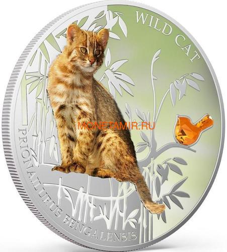 Фиджи 2 доллара 2013 Бенгальская кошка - Дикая кошка серия Собаки и Кошки (Fiji 2$ 2013 Wild Cat Prionailurus Bengalesis Dogs and Cats).Арт.000405649006/60 (фото, вид 1)