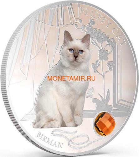 Фиджи 2 доллара 2013 Бирманская кошка - Пушистая кошка серия Собаки и кошки (Fiji 2$ 2013 Fluffy Cat Birman Dogs and Cats).Арт.000405649002/60 (фото, вид 1)