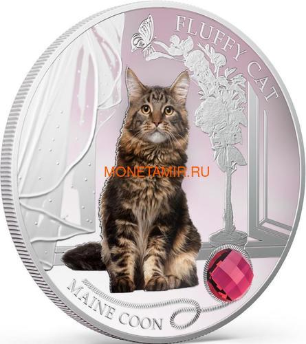 Фиджи 2 доллара 2013 Мейн-кун - Пушистая кошка серия Собаки и Кошки (Fiji 2$ 2013 Fluffy Cat Maine Coon Dogs and Cats).Арт.000405649000/60 (фото, вид 1)