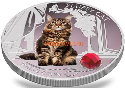Фиджи 2 доллара 2013 Мейн-кун - Пушистая кошка серия Собаки и Кошки (Fiji 2$ 2013 Fluffy Cat Maine Coon Dogs and Cats).Арт.000405649000/60 (фото, вид 2)