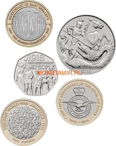 Великобритания Полный годовой набор 2018 (The 2018 UK Brilliant Uncirculated Annual Coin Set).Арт.60 (фото, вид 1)