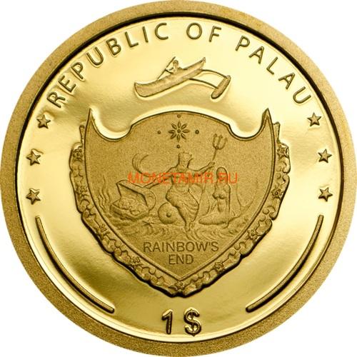 Палау 1 доллар 2014 Клевер На удачу (Palau 1$ 2014 Good Luck 4-leaf clover).Арт.60 (фото, вид 1)
