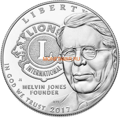 Соединенные Штаты Америки 1 доллар 2017 Международный Клуб Львов (2017 US 1$ Lions Club International Centennial Proof).Арт.000370153838/60 (фото, вид 1)