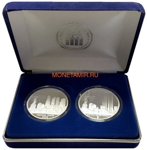 Острова Кука 2х1 доллар 2008 Башни Близнецы и Башня Свободы Набор из двух монет (2008 Cook Islands $1 Twin Towers Freedom Tower Silver 2 Coin Set National Collectors Mint).Арт.2000290312/60 (фото, вид 3)
