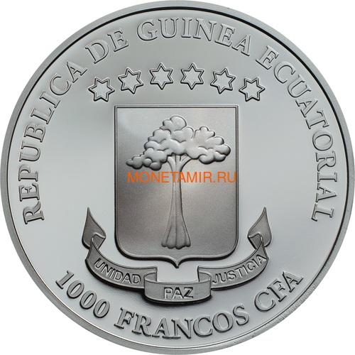 Экваториальная Гвинея 1000 франков 2018 Хрустальный Череп Тщеславие (Equatorial Guinea 1000 Francos CFA Crystal Skull Vanity Swarovski 1 oz Silver Coin).Арт.60 (фото, вид 1)
