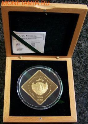 Палау 500 долларов 2008 Линкор Миссури Боевые Корабли (Palau 500$ 2008 USS Missouri Battleships 2,5oz Gold).Арт.60 (фото, вид 2)